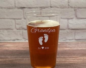 Grandpa Beer Glass, New Grandpa Glass, Grandpa Beer Glasses, Grandpa Established, Grandfather Glass, Grandfather Beer, Grandpa Beer