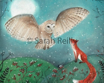 The Owl and the Fox - Contemporary Print of Original Artwork, Owl, Fox, Winter Huggles