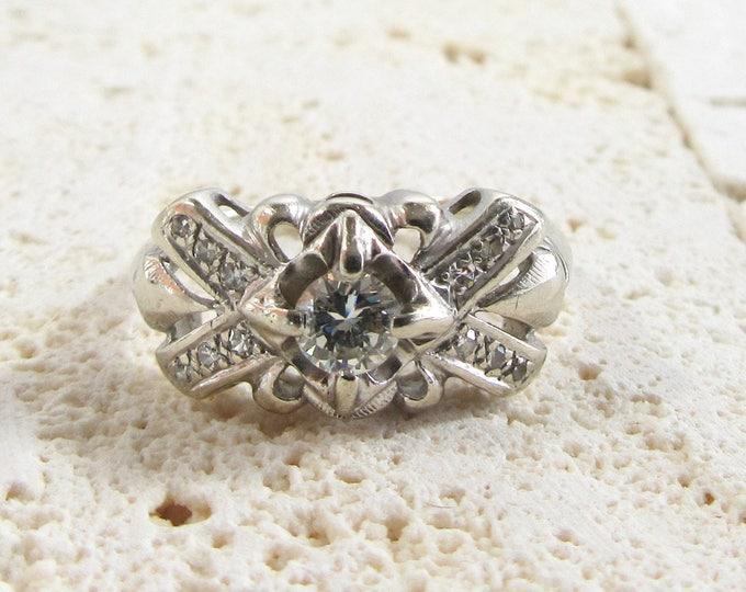 White Gold Diamond Ring, Vintage Diamond Ring, April Birthstone, Diamond Ring, Diamond Promise Ring, Diamond Wedding Ring, Birthstone Ring
