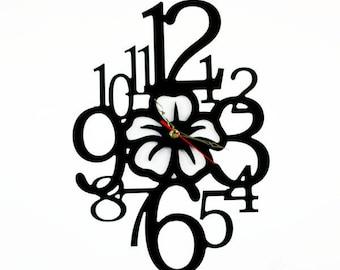Fashion Art wall clock, Modern wall clock, Flower wall clock with numbers