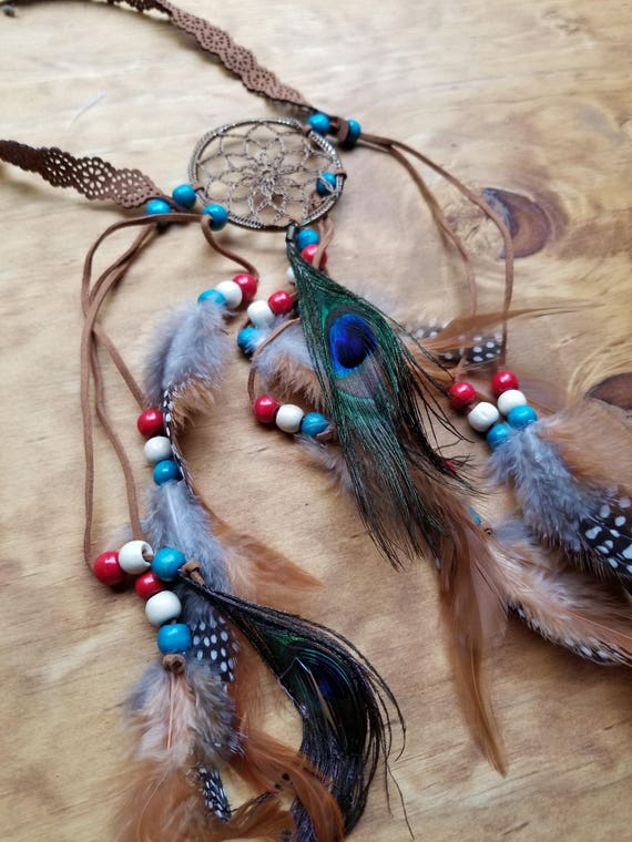 Multi Color Dream Catcher Center Feather Headdress Native American Style Fashion Boho Hippie Headband Outdoor Nature Earth