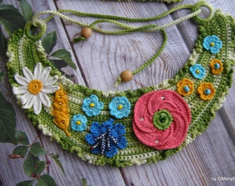 Crochet necklace with wildflowers | For Her | Gift idea | Ornament | Necklace