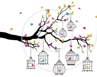 Tree branch with birds and birdcages, digital clip art, clipart, digital art print, printable wall art, JPG, PNG, EPS, instant download