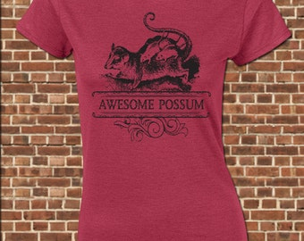 AWESOME POSSUM Women's Junior Fit T-Shirt - all sizes available - funny opposum marsupial mammal animal lover country vintage tee UG603