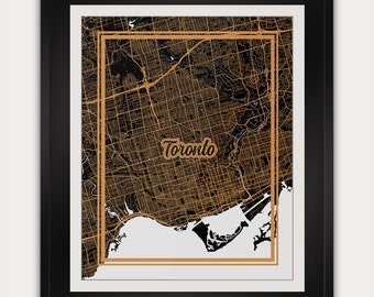 Toronto - GTA - Ontario - Canada - Minimalist City Map Art Print - 11x14 Inches - Office Living Room Alternative Art Deco Home Decor Poster