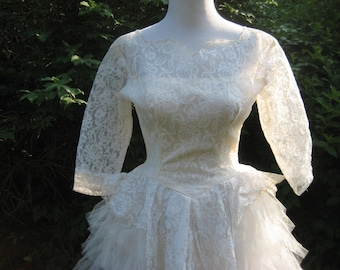 1950s Wedding gown, 50s wedding dress, tulle and lace wedding gown