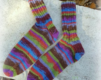 Hand Knit Autumnal Color Rainbow Socks Washable Wool / Designer Imported Yarn / Knit Socks / Gifts For Her / Purple Green Blue / size 8 to 9