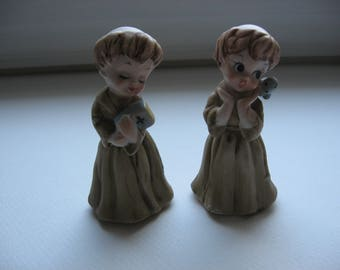 Vintage Mid Century Priest/Friar Hand Painted Figurines//Set of 2// Collectible Religious Figurines// Made in Japan