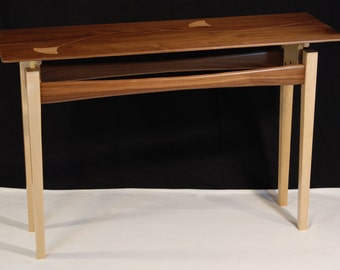 Console table with leaf inlays