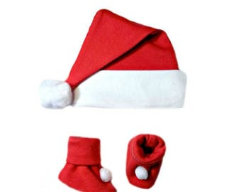 Red Christmas Baby Santa Hat and Booties Set 6 Sizes for Preemie, Newborn Infants to 6 Months. Perfect for Baby's 1st Christmas! Super Soft!