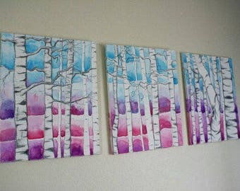 Birch Tree Sunset triptych, Large painting, white trees, blue, pink, purple. Over couch, over bed painting, kids room, nursery, set of 3