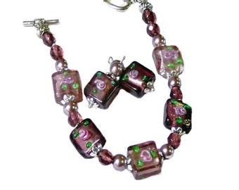 Bracelet, mauve purple lampwork and glass pearls, with earrings set,  choose your fittings