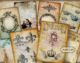 Digital Collage Sheets ANTIQUE STYLE BACKGROUNDS 8 Large Images Printable Download Vintage print-it-yourself Craft Paper ArtCult graphics