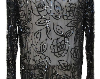 Sheer Sequined Tunic in Black Silk with Beaded Embellishments and Long Sleeves - Fits Size Small
