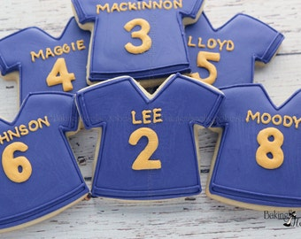Football Jersey Personalized Decorated Sugar Cookies, Boys Birthday Cookies, Sports Cookies, Football Party, Superbowl Cookies