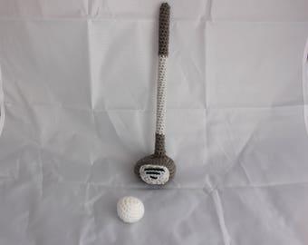 Crochet Newborn Golf Set - Newborn Photo Prop - Golf Club, Golf Ball - Baby Golfer - Baby Golf Set - Photo Prop - Crochet Golf Set
