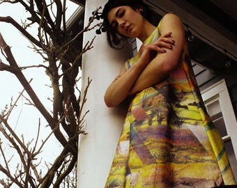 Acid Rainbow Slashed Trapeze Dress