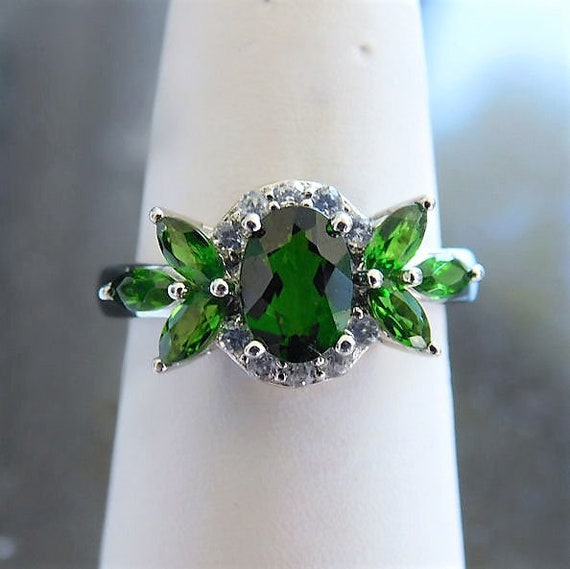 Russian Chrome Diopside Ring / Siberian Emerald / Size 6 / Sterling Silver / Unique Engagement / Promise