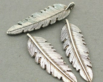 charm large feather leaf 5-6cm Silver (D61)
