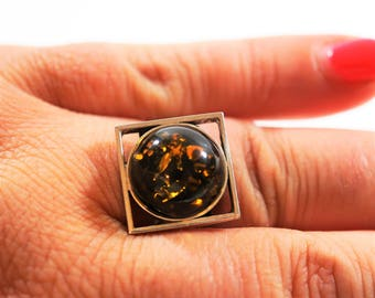 Baltic   amber silver ring 7g