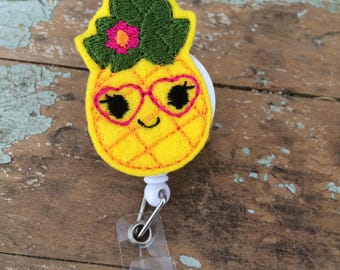Nerdy Pineapple ID badge reel holder retractable clip
