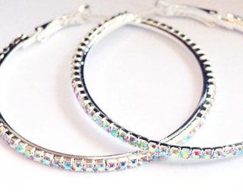 Crystal Hoop Earrings Thin Cast Silver Rhodium Plated Iridescent Rhinestone Hoops Earrings 2 inch hoops