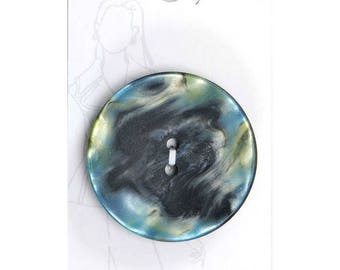 Belle Buttons by Dritz Carded 40mm 1 9/16 inch - Black and Blue Green Pearl Marble - Made in France - Item #BB981 | Loomahat  *B2