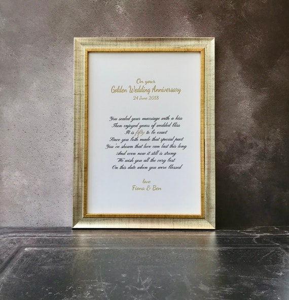 Personalised framed golden wedding anniversary gift