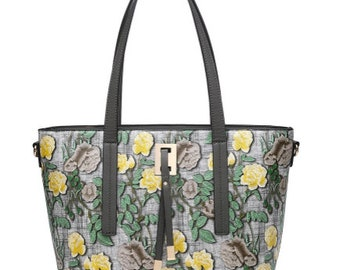 Statement faux leather floral tapestry drape bead tote bag with detachable strap grey