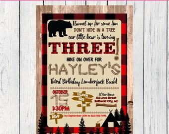Lumberjack Birthday Any Age: Personalized birthday invitation- ***Digital File*** (Lumber-three)