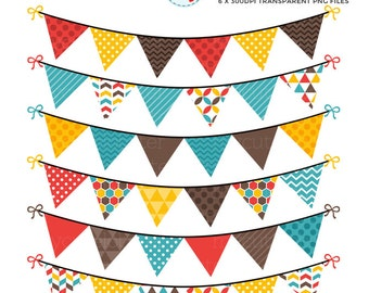 Bunting Clipart Set - clip art set of bunting, yellow, red, blue, bunting, pennants - personal use, small commercial use, instant download