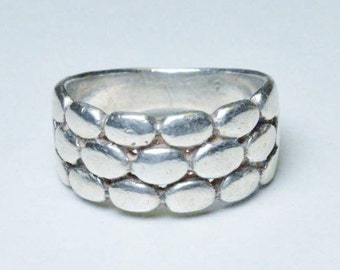 Vintage Sterling Silver Modernist Abstract Band Size 5.75