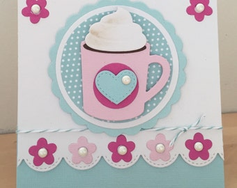 Handmade luxury coffee greeting card, ideal for birthdays, thank you's etc.