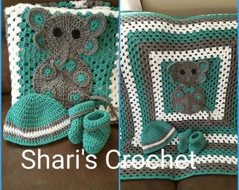 Crochet baby elephant blanket, booties and hat