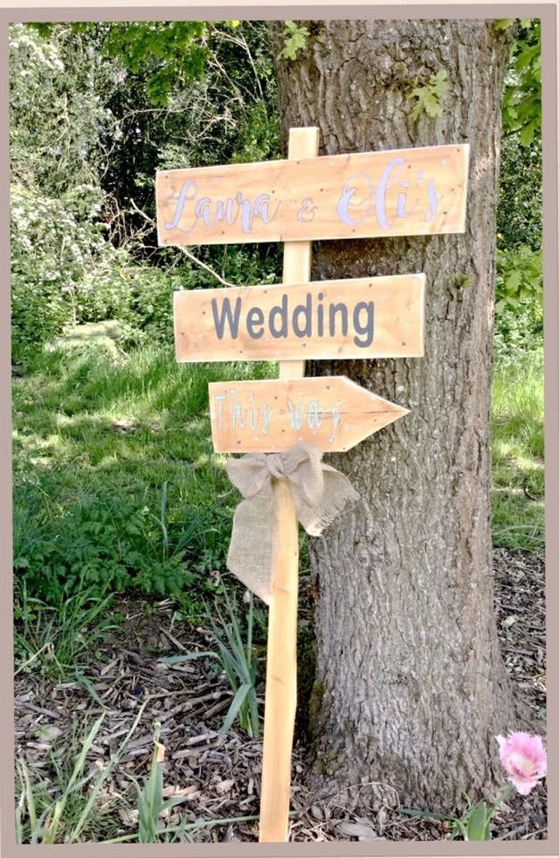 Personalised pointed directional wedding sign, Wedding this way sign ...