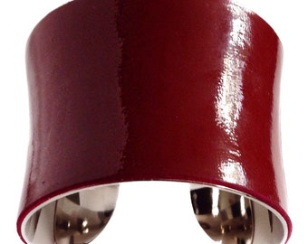 Maroon Patent Leather Silver Lined Cuff - by UNEARTHED