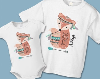 Boho Woodland Fox Big Sister Little Sister Shirt or Onezie - Create a Matching Shirt Set (buy 1, 2, etc) - Distressed Graphic - Personalized