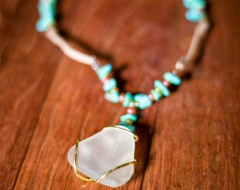 White sea glass and turquoise necklace