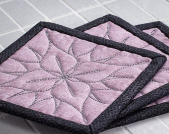 Fabric Drink Coasters. Quilted  Drink Coasters set of 3