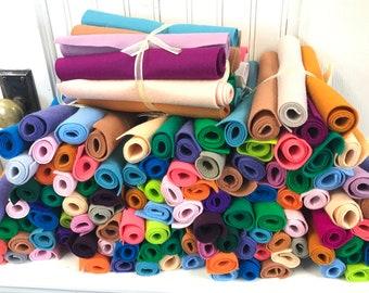 Wool Felt Sheets, Set of 16, Stash Builder, Assortment, Pure Merino, DMC Embroidery Floss