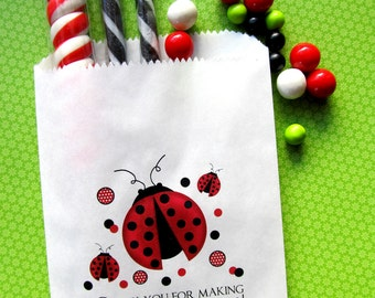 Ladybug Birthday party, ladybug party favors, Personalized Candy Bags, ladybug Favor bags, Birthday party, Sweets, Treats