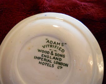Vintage Butter Pat Plate Wood and Sons England Imperial Hotels Pattern,  Adams Shabby Chic Collectable