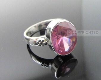 Pink Topaz Ring, 925 Sterling Silver Ring, Gemstone Rings, Crystal Rings, Healing Rings