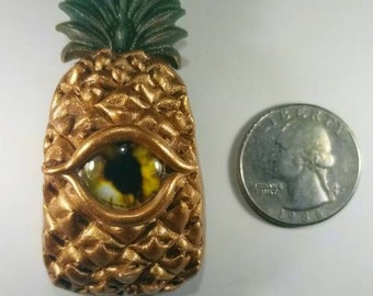 Golden Eyenapple Clay Pendant