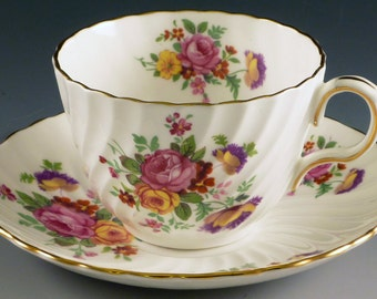 Aynsley Roses and Cornflowers Tea Cup and Saucer Swirled Scalloped Fine English Bone China Flowers C1387 Rose Pink Purple Gold on White