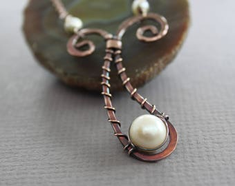 Paisley copper necklace with pendant and white pearl - White pearl necklace - Rustic necklace - Copper pendant - Pearl pendant, NK050