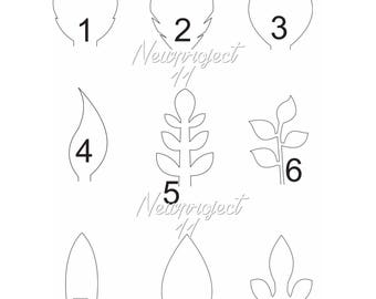set of 9 pdf leaf templates - Leaf Templates