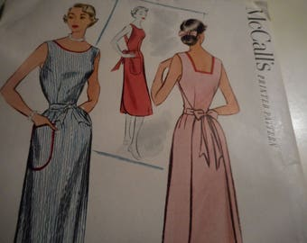 Vintage 1950's McCall's 8632 Coverall Apron Sewing Pattern Size 14 Bust 32