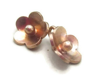 2 Flower Charms Rose Gold Vermeil Fine Silver 10mm Diameter Karen Hill Tribe