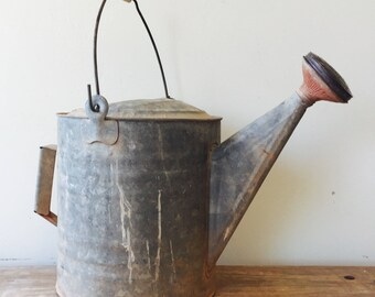 Vintage Texan Watering Can with Sprinkle Styke Spigot, Vintage Watering Can, Vintage Galvanized Watering Can